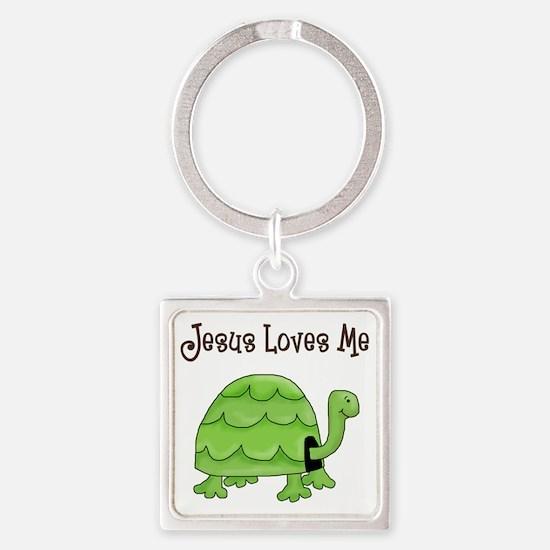 Jesus loves me - Turtle Square Keychain