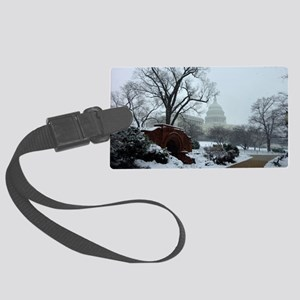 US Capitol Building Snow Photo Large Luggage Tag