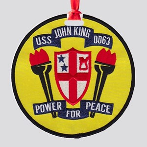 uss john king patch transparent Round Ornament