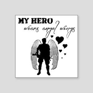 """hero wears angel wings Square Sticker 3"""" x 3"""""""