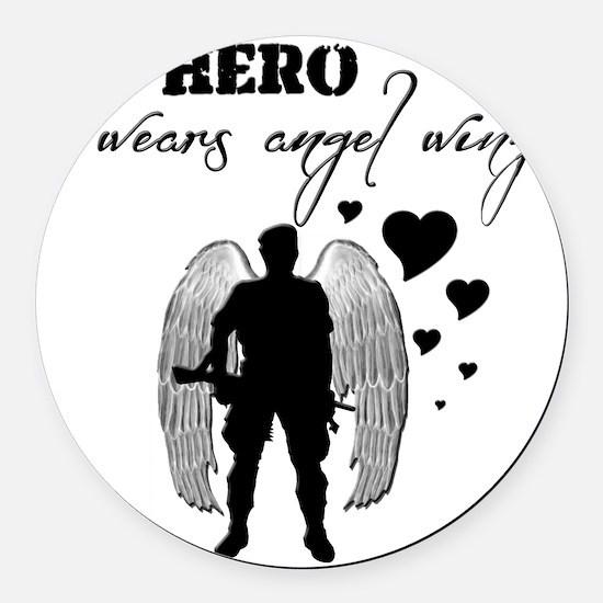 hero wears angel wings Round Car Magnet