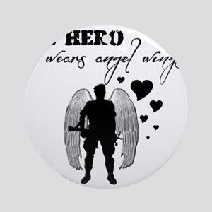 hero wears angel wings Round Ornament