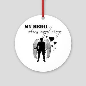 hero wears angel wings Round Ornament