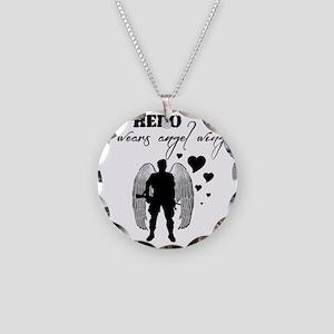 hero wears angel wings Necklace Circle Charm