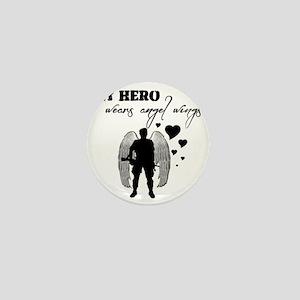 hero wears angel wings Mini Button
