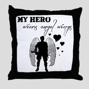 hero wears angel wings Throw Pillow