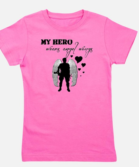 hero wears angel wings Girl's Tee