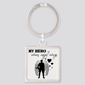 hero wears angel wings Square Keychain