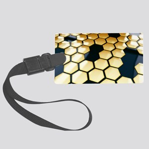 Golden Hexagons Large Luggage Tag