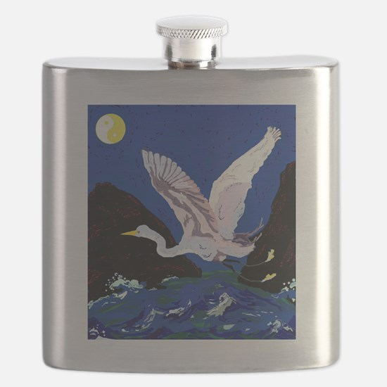 White Crane Spreads Its Wings Flask