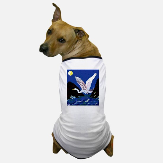White Crane Spreads Its Wings Dog T-Shirt
