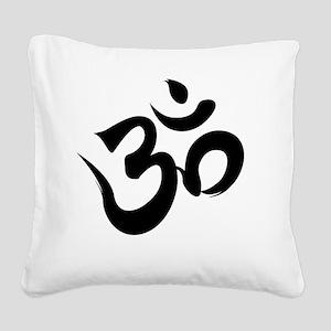 Om Black Square Canvas Pillow