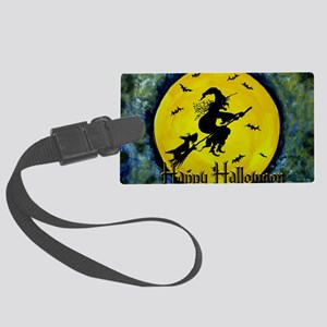 Halloween Scottie and Witch Large Luggage Tag