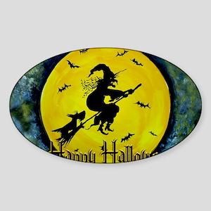 Halloween Scottie and Witch Sticker (Oval)