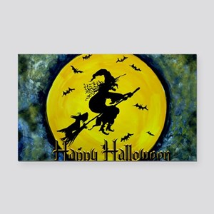 Halloween Scottie and Witch Rectangle Car Magnet