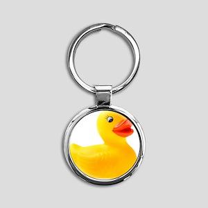 Rubber Duck Round Keychain