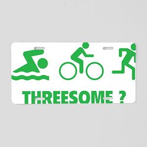 triaThreesome1D Aluminum License Plate