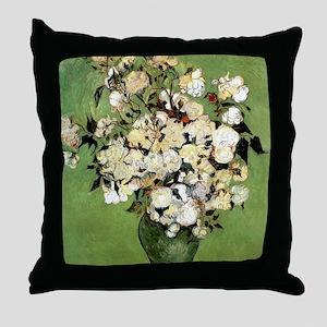 Van Gogh Roses Throw Pillow