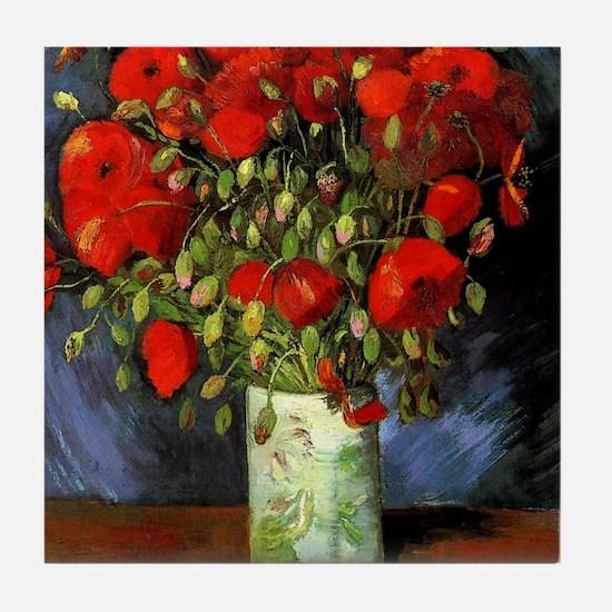 Van Gogh Red Poppies Tile Coaster