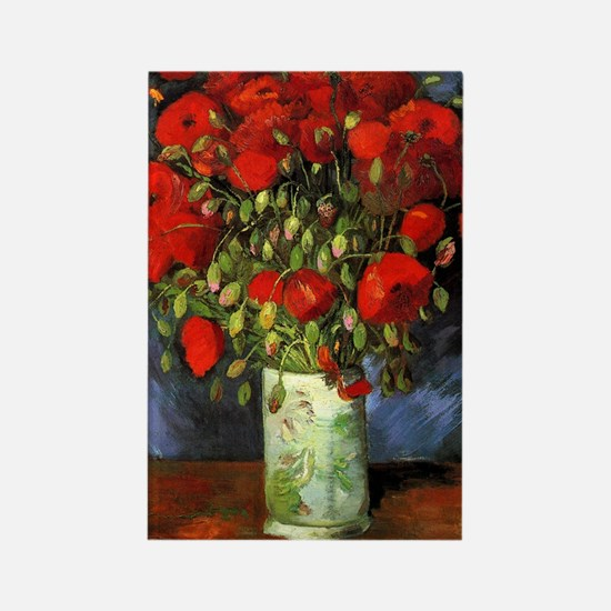 Van Gogh Red Poppies Rectangle Magnet