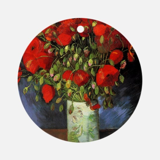 Van Gogh Red Poppies Round Ornament