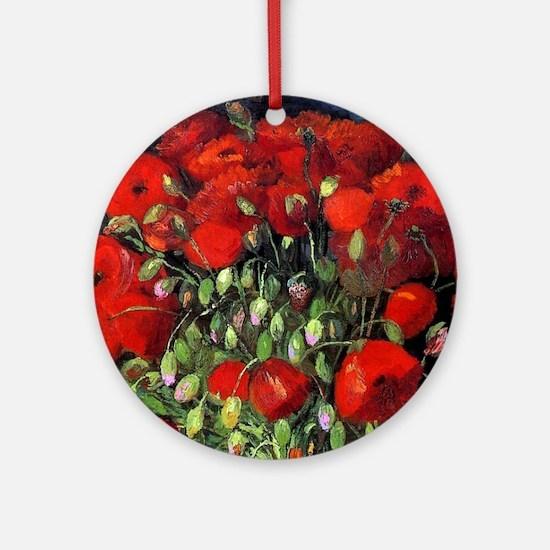 Van Gogh Red Poppies Round Ornament