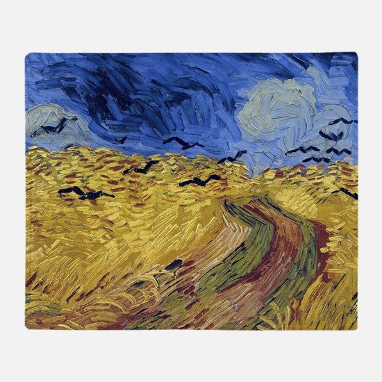 Wheatfield with Crows Throw Blanket