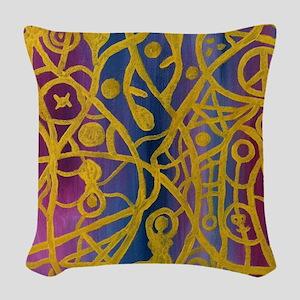 Goddess Spiderweb Painting Woven Throw Pillow