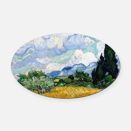 Wheat Field with Cypresses Oval Car Magnet