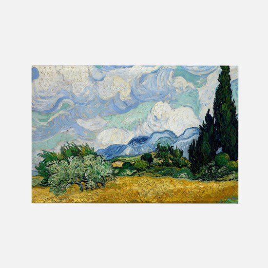 Wheat Field with Cypresses Rectangle Magnet