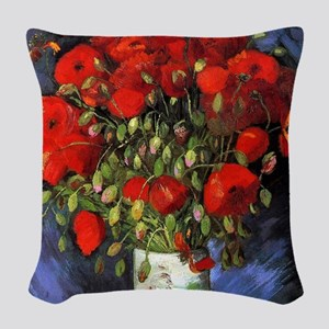 Van Gogh Red Poppies Woven Throw Pillow