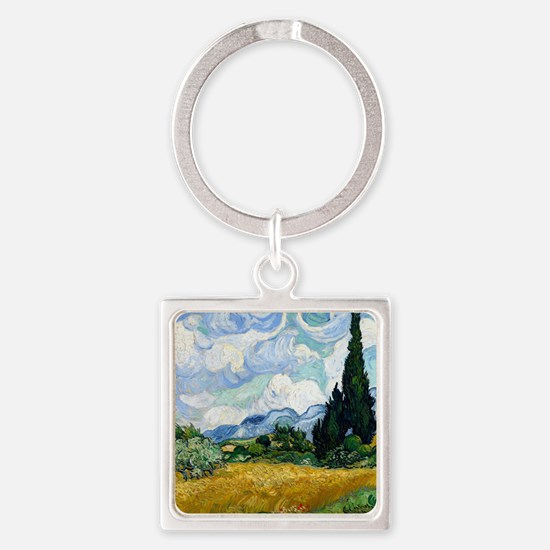 Wheat Field with Cypresses Square Keychain