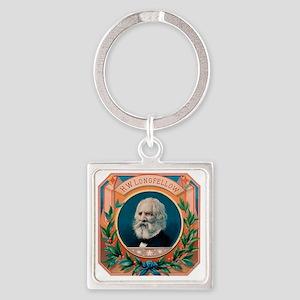 H.W. Longfellow Cigar Label Square Keychain