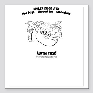 "Chilly Dogs ATX Logo  Square Car Magnet 3"" x 3"""