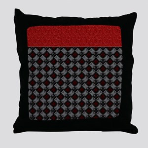 Red and Gray Diamonds Throw Pillow