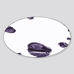 Little Abstract Purple Cars Sticker (Oval)