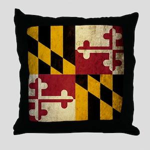 Grunge Maryland Throw Pillow