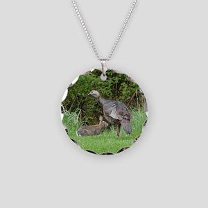 Turkey and Rabbit Necklace Circle Charm