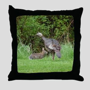 Turkey and Rabbit Throw Pillow