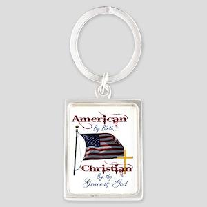 American by Birth Christian By G Portrait Keychain