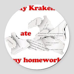My Kraken ate my homework Round Car Magnet