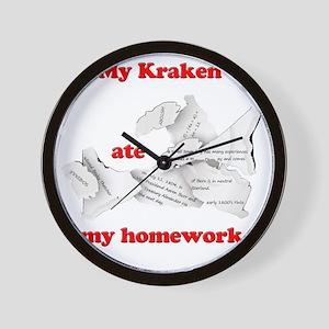 My Kraken ate my homework Wall Clock