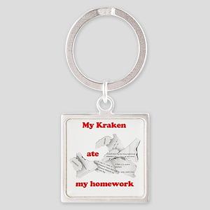My Kraken ate my homework Square Keychain