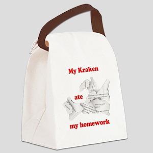 My Kraken ate my homework Canvas Lunch Bag