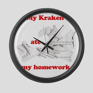 My Kraken ate my homework Large Wall Clock