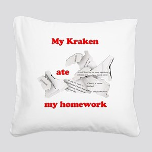 My Kraken ate my homework Square Canvas Pillow