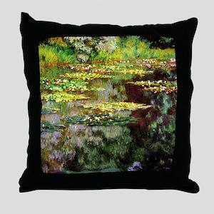 Claude Monet Sea Rose Pond Throw Pillow
