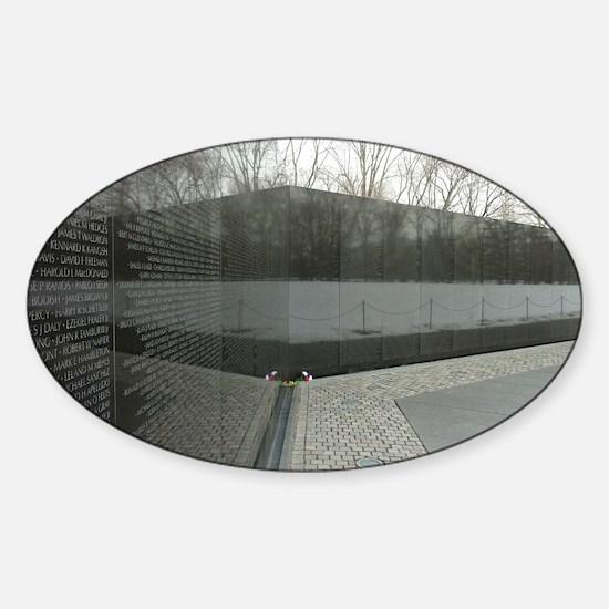 Vietnam war memorial wall reflectio Sticker (Oval)