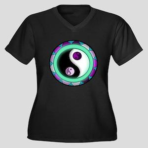 Glowing Zen Women's Plus Size Dark V-Neck T-Shirt
