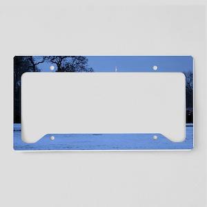 white house snow License Plate Holder
